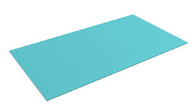 3d rendering of light blue rubber yoga mat for exercise isolated on white background Royalty Free Stock Image