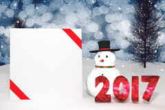 3D Rendering : 2017 light bokeh number and white card with red ribbon on perspective snowscape.snow man with sparkling bokeh wall Stock Image