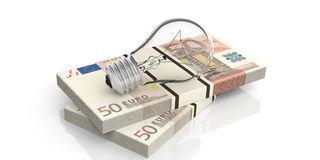 3d rendering light bulb on 50 euro banknotes stack. On white background Royalty Free Stock Photo