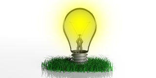 3d rendering light bulb on grass Stock Photos