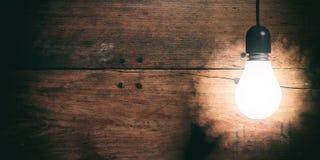 3d rendering light bulb on wooden background Stock Photo