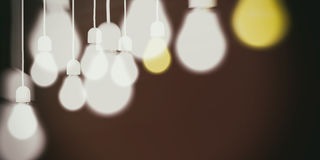 3d rendering light bulbs on black background. 3d rendering light bulbs hanging on black background Stock Photo