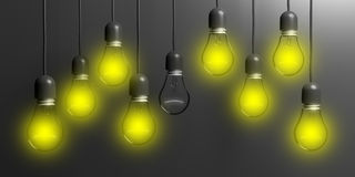 3d rendering light bulbs on black background. 3d rendering light bulbs hanging on black background Royalty Free Stock Images