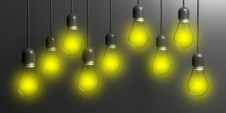 3d rendering light bulbs on black background. 3d rendering light bulbs hanging on black background Stock Photos