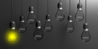 3d rendering light bulbs on black background. 3d rendering light bulbs hanging on black background Royalty Free Stock Image