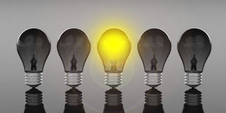 3d rendering light bulbs on black background. 3d rendering light bulbs standing on black background Stock Photo
