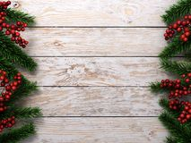 3D rendering light christmas wooden background. With branches of fir and holly berries Stock Image