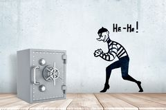 3d rendering of a light-grey metal safe on a wooden surface near a wall with a drawing of a tiptoeing thief and words He. He on it. Bank safety. Flaw in vector illustration