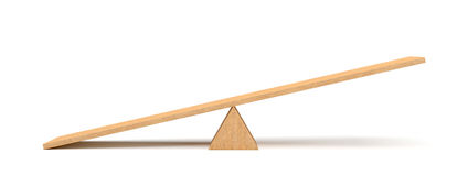 3d rendering of a light wooden seesaw with the left side leaning to the ground on white background. Stock Image