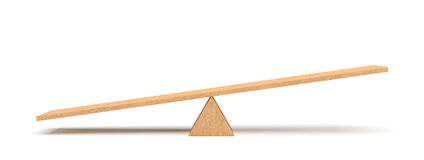 3d rendering of a light wooden seesaw with the left side leaning to the ground on white background. stock illustration