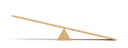 3d rendering of a light wooden seesaw with the right side leaning to the ground on white background. Stock Image