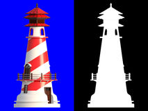 3D rendering of lighthouse isolated on blue background with clip. Ping paths and alpha channel section for an easy split background Stock Image