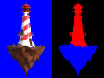 3D rendering a lighthouse on a little rocky island  on blue background with clipping paths and color id section for an eas. Y split background Stock Photos