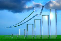 3d rendering of a linear growth bar chart from glass on green grass royalty free illustration