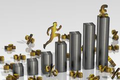 3D rendering of a linear growth histogram with £ pound sterling sign. Close up vector illustration