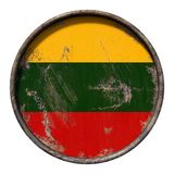 Old Lithuania flag. 3d rendering of a Lithuania flag over a rusty metallic plate. Isolated on white background Royalty Free Stock Image