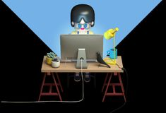 3d rendering of little girl in glasses working on computer. Late at night . Cute working space. Cartoon stylized Stock Photos