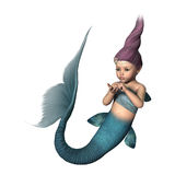 3D Rendering Little Mermaid on White Royalty Free Stock Images