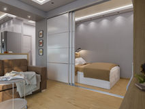 3d rendering living room and bedroom interior design. 3d illustration living room and bedroom interior design. Modern studio apartment in the Scandinavian Stock Photography