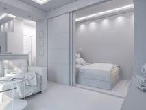3d rendering living room and bedroom interior design. 3d illustration living room and bedroom interior design. Modern studio apartment in the Scandinavian Royalty Free Stock Photo