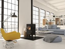 3d rendering. living room with cast iron fireplace in modern loft apartment. Living room with fireplace in modern loft apartment. 3d rendering Royalty Free Stock Photos