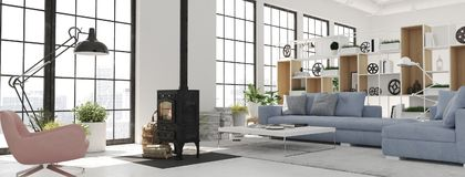 3d rendering. living room with cast iron fireplace in modern loft apartment. Living room with fireplace in modern loft apartment. 3d rendering stock image