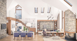 3D rendering of living room of chalet. 3D rendering of living room, kitchen and dining room and stair are combined in one area of chalet. The interior is stock illustration