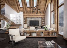 3D rendering of  living room of chalet Royalty Free Stock Images