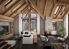 3D rendering of  living room of chalet Stock Photos