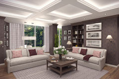 3D rendering of  living room of a classic appartment. 3D rendering of living room in classic style.The interior is decorated with wood Stock Photography