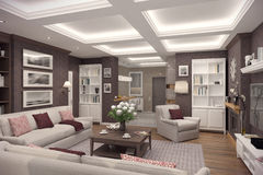3D rendering of  living room of a classic appartment. 3D rendering of living room in classic style.The interior is decorated with wood Royalty Free Stock Image