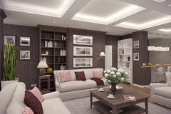 3D rendering of  living room of a classic appartment. 3D rendering of living room in classic style.The interior is decorated with wood Stock Photo
