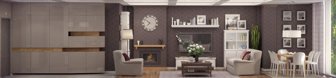 3D rendering of  living room of a classic appartment. 3D rendering of living room in classic style.The interior is decorated with wood Stock Images