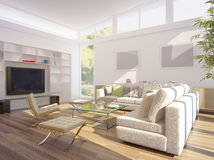 3D rendering of a living room stock images