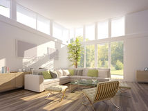 3D rendering of a living room royalty free stock image