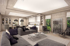 3D rendering of  living room of a country house Stock Image