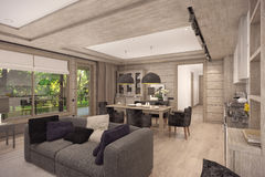 3D rendering of  living room of a country house Royalty Free Stock Image