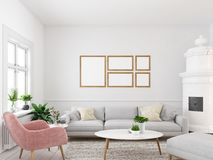 Living room with empty picture frames and fireplace. 3d rendering. 3d rendering. living room with empty picture frames and fireplace Stock Photos