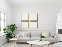 Living room with empty picture frames and fireplace. 3d rendering. 3d rendering. living room with empty picture frames and fireplace Royalty Free Stock Photography