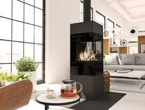 3d rendering. living room with fireplace in modern loft apartment. tea time. Living room with fireplace in modern loft apartment. 3d rendering Stock Photos