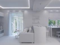 3d rendering living room interior design. Royalty Free Stock Image
