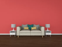3D Rendering living room isolated on colorful background Stock Photos