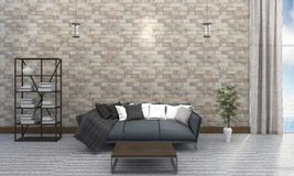 3d rendering living room near sea in brick house Stock Images