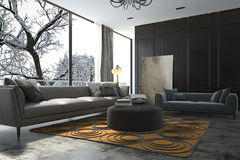 3d rendering living room with sofa near winter scene outside window Stock Photo
