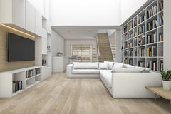 3d rendering living room with sofa and tv and bookshelf with some book Stock Photos
