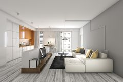 3d rendering living room with sofa and tv near kitchen bar. 3d rendering interior and exterior design by myself Stock Photos