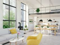 Modern loft apartment. 3d rendering. 3d rendering. loft apartment with living room and kitchen Royalty Free Stock Photography