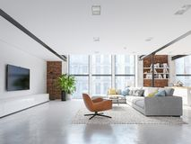 New modern city loft apartment. 3d rendering stock photography