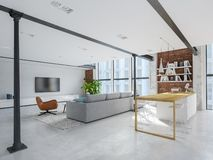 New modern city loft apartment. 3d rendering stock images