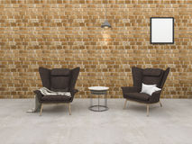 3d rendering loft brick room with armchair and beautiful lamp Stock Photography